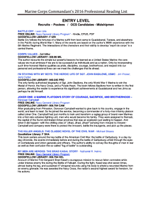 Commandants reading list book report format