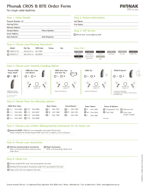Fillable Online Phonak Cros B Bte Order Form Fax Email Print Pdffiller