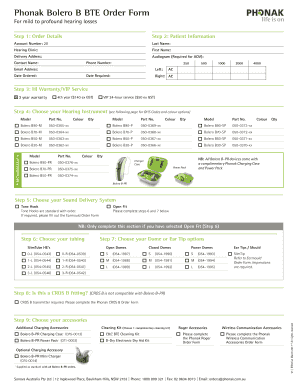 Fillable Online Phonak Bolero B Bte Order Form Fax Email Print