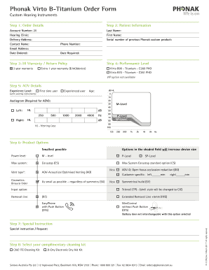 Fillable Online Phonak Virto B Titanium Order Form Fax Email Print