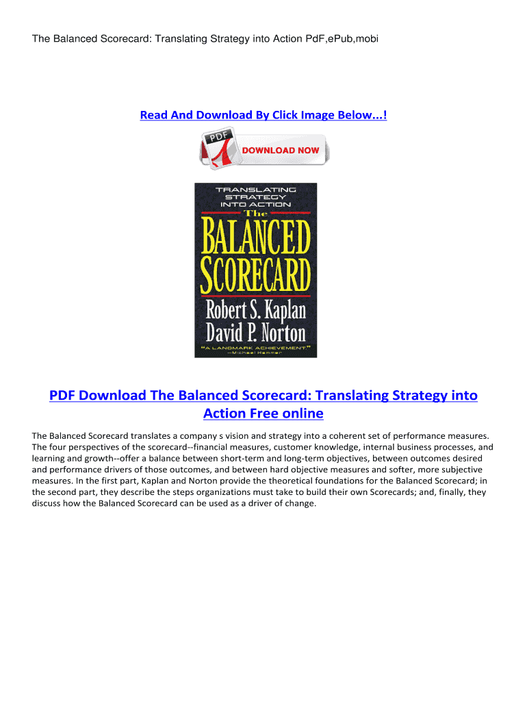 The Balanced Scorecard Translating Strategy Into Action Ebook