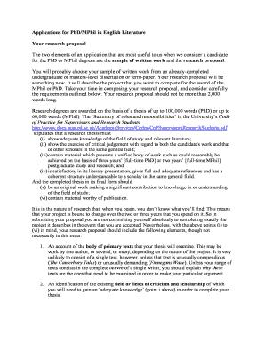 Phd research proposal english literature