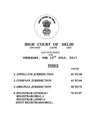 Fillable Online Causelist Supreme Court of India Fax Email Print
