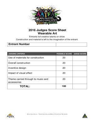 Wearable Art 2016 Judges Score Sheet Wearable Art Entrants Full Creative  Talents On Show. Construction And Material Is Left To The Imagination Of  The ...