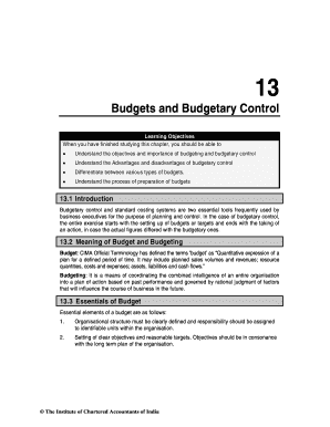 budgetary control advantages and disadvantages - Fillable