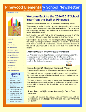 Elementary School Newsletter Templates Printable Newsletters Fill Out Download Forms