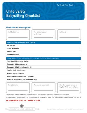 Babysitting Checklist For Babysitters