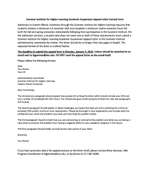 summer institute for higher learning academic suspension appeal letter format form