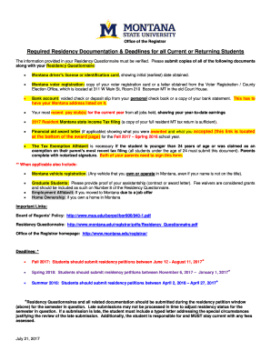 Fillable justification letter for late submission of documents required residency documentation deadlines for all current or returning students spiritdancerdesigns Gallery