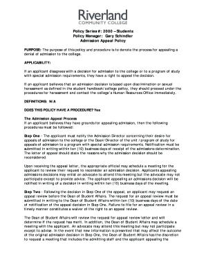 Fillable sample appeal letter for college admission - Edit