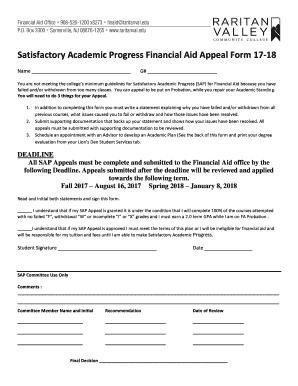 Satisfactory Academic Progress Financial Aid Appeal Form 17