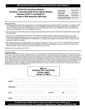 Autozone promotion form