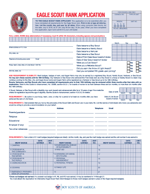 2018 Eagle Scout Rank Application Form