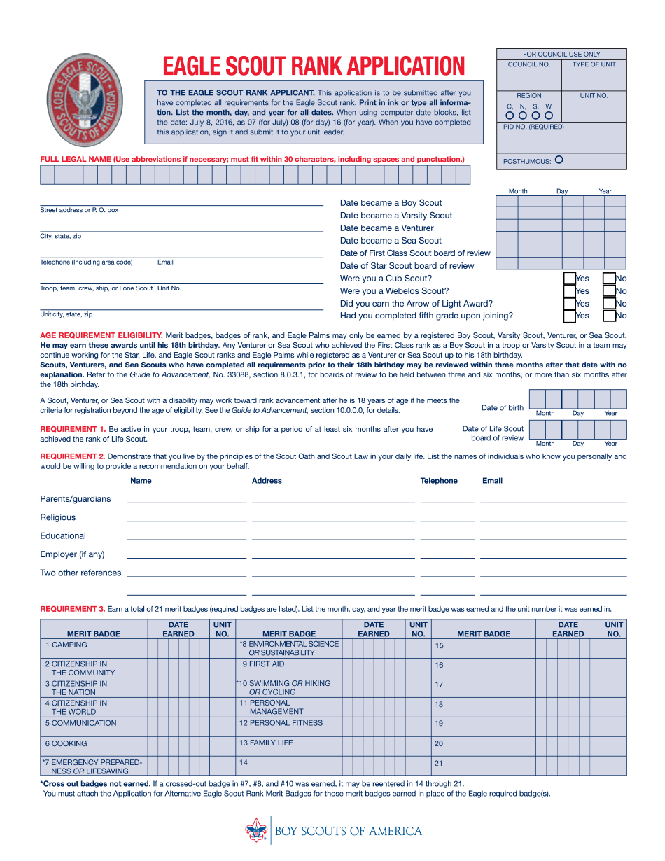 eagle scout rank application 2018
