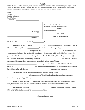 Printable Nj Foreclosure Writ Of Possession Edit Fill Out