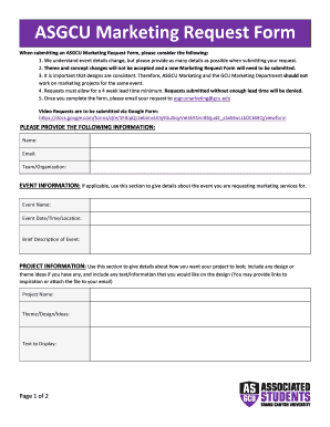 Fillable Online ASGCU Marketing Request Form Fax Email Print