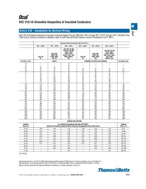 Nec 310 16 Table Pdf Fill Online Printable Fillable Blank Pdffiller