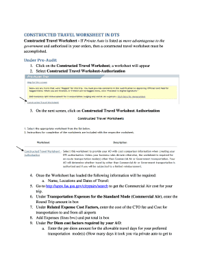 CONSTRUCTED TRAVEL WORKSHEET IN DTS Fill Online, Printable ...