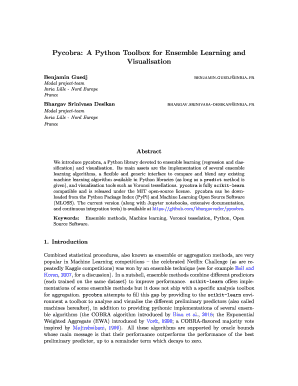 Fillable Online Pycobra: A Python Toolbox for Ensemble