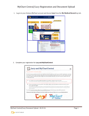 Fillable online mychart central lucy registration and document