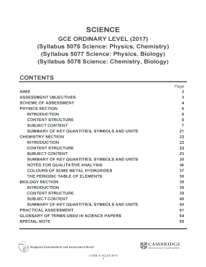 Fillable Online (Syllabus 5076 Science: Physics, Chemistry) Fax