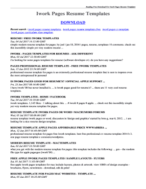 iwork pages resume templates