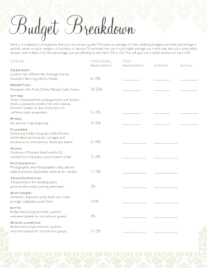 Printable average wedding cost breakdown - Edit, Fill Out & Download ...
