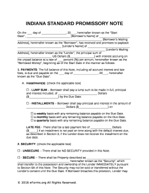 Indiana Standard Promissory Note Fill Online Printable Fillable