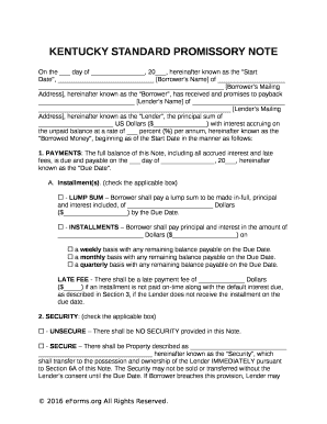 KENTUCKY STANDARD PROMISSORY NOTE  Promissory Note Word Template
