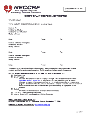 NECCRF GRANT PROPOSAL COVER PAGE Fill Online, Printable
