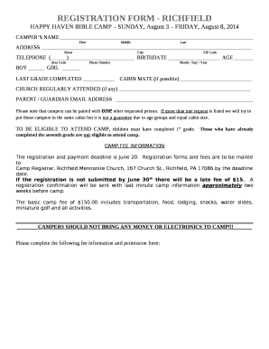 REGISTRATION FORM - RICHFIELD