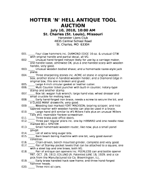 HOTTER 'N ' HELL ANTIQUE TOOL AUCTION Doc Template | PDFfiller