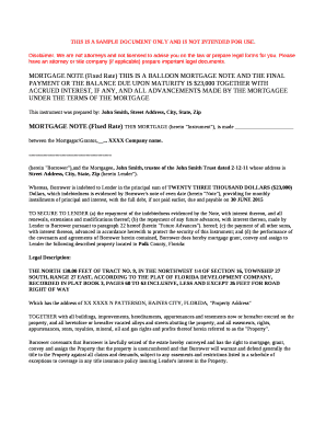 Fillable Balloon Mortgage Note And Document Templates To