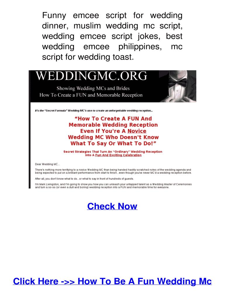 Funny emcee script for wedding Fill Online, Printable, Fillable