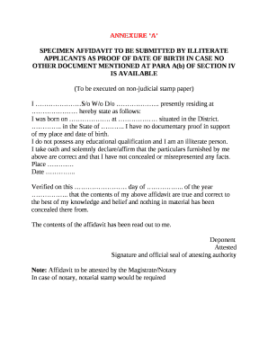 SPECIMEN AFFIDAVIT TO BE SUBMITTED BY ILLITERATE APPLICANTS AS PROOF