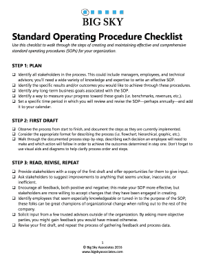 Fillable Online Standard Operating Procedure Checklist Fax