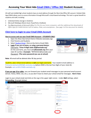 Accessing Your West Ada Email OWA / Office 365 Student Account Fill
