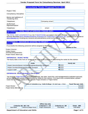Consultants Tender Proposal Form 2011