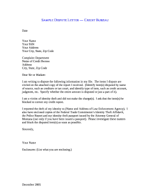 Sample Credit Dispute Letter Fill Out Online Documents Download - Credit dispute letter template pdf