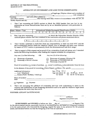 AFFIDAVIT OF OWNERSHIP AND LOSS WITH UNDERTAKING  Affidavit Of Loss Template