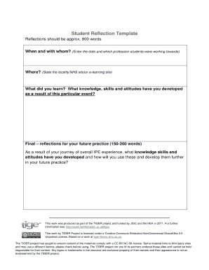 Fillable Online Student Reflection Template Fax Email Print - PDFfiller