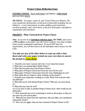 printable essay on group work reflection fill out top  essay on group work reflection project citizen reflection essay