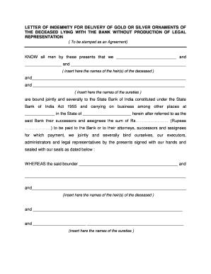 Fillable online letter of indemnity for delivery of gold or silver fill online altavistaventures Choice Image