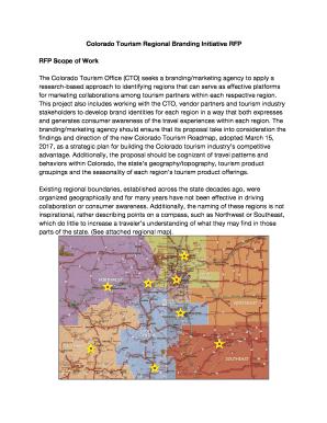 Colorado Tourism Regional Branding Initiative RFP Fill Online