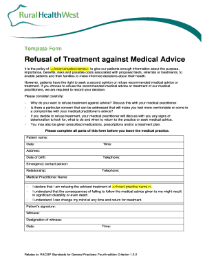 Refusal Of Treatment Against Medical Advice