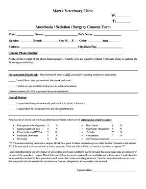 Veterinary decline treatment form fillable printable for Veterinary forms templates
