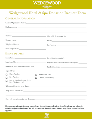 Fillable Online Wedgewood Hotel & Spa Donation Request Form Fax