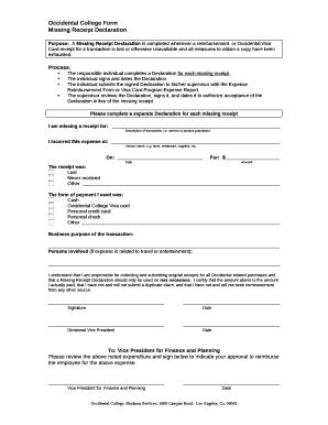 Occidental College Form