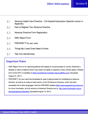 ... CA Hospital AssociationSpanish Version In AppendixHow To Register Your Advance  Directive Advance Directive Form Registration DMV Report Form PREPAREfor ...
