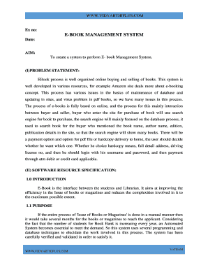 srs document for ebook management system - Fill Out Online